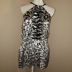 Babe Blk and White Halter Neck Blouse. Sz L. NWT